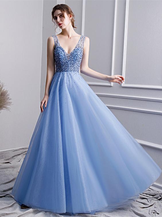 A Linie Abendkleid Abiballkleider V Ausschnitt Ruckenausschnitt Lang Hellblau Tull Perlen