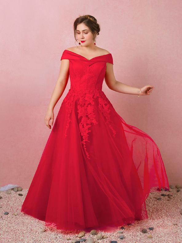 Spitze Lang Rot Ausschnitt Corsage Abendkleid Große Carmen Linie Ballkleider A Tüll Größen oCBdxe