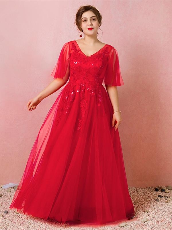 13f1605f3bdf A Linie Abendkleid Ballkleider Große Größen V Ausschnitt Lang Rot Tüll  Ärmel Spitze Glitzer