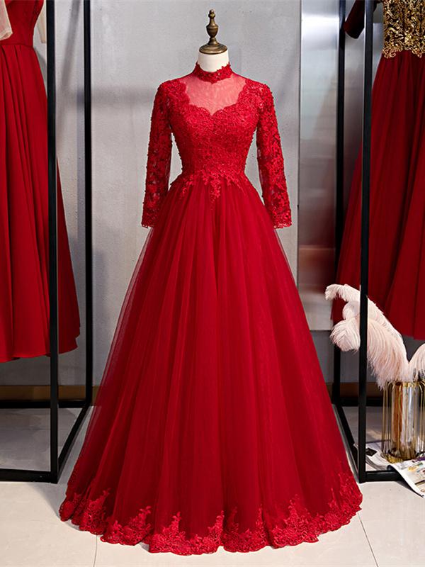 A Linie Abendkleid Brautkleid Langarm Rot Tull Spitze Stehkragen Ruckenausschnitt