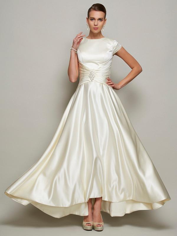 Bedeckt Brautmutterkleider Hochgeschlossen Rücken Mit Lang Seide Linie Ärmel Abendkleid Ivory A 35Rc4jLqA