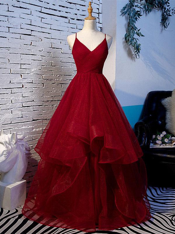 A Linie Abiballkleider Abendkleid Spaghettiträger Rückenausschnitt Lang Rot  Tüll Mit Rüschen
