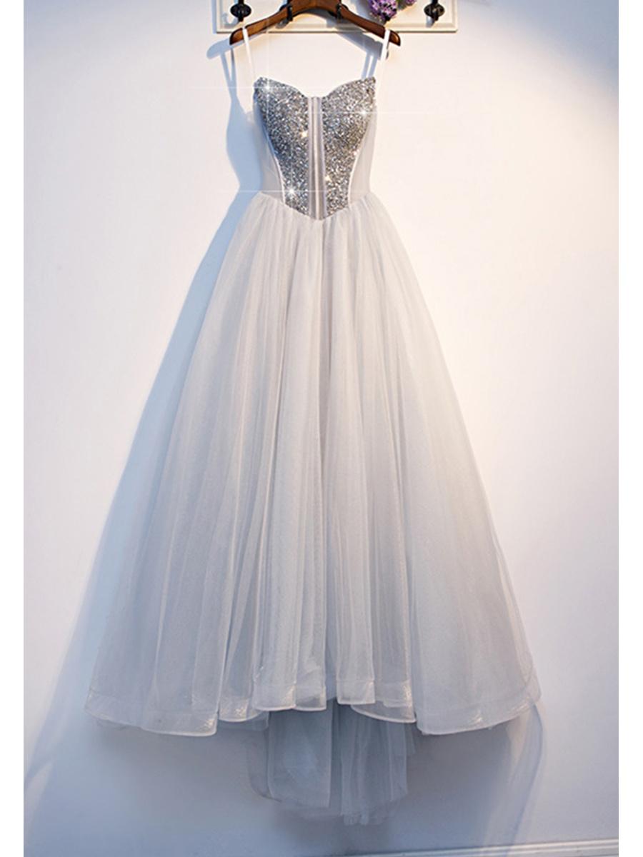 A Linie Ballkleid Abendkleid Lang Silber Tüll Perlen Glitzer