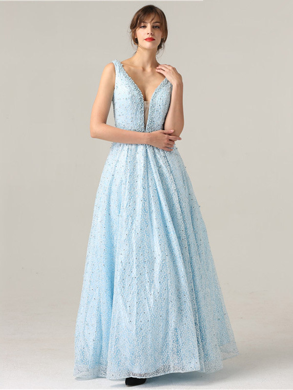 echte Schuhe Modestile niedrigerer Preis mit A Linie Rückenfreies Abendkleid Ballkleid Tiefer V Ausschnitt Lang HellBlau  Tüll Perlen