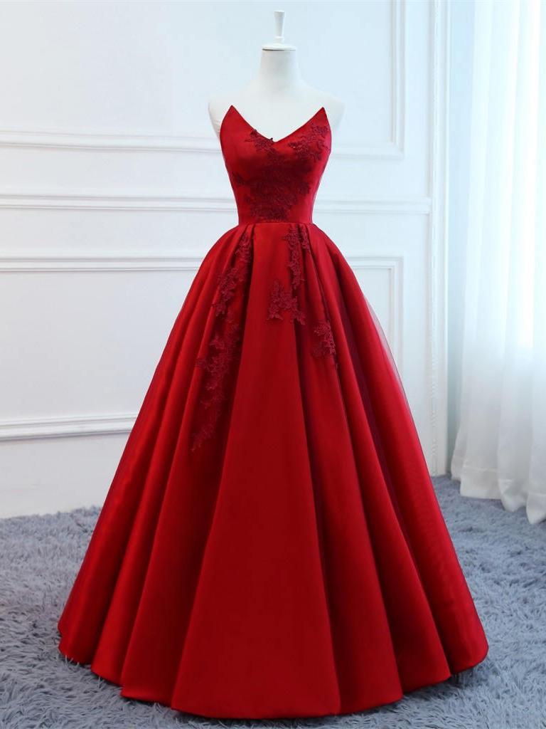 A Linie Trägerloses Ballkleid Abendkleid Lang Rot Satin Blumen Applikationen