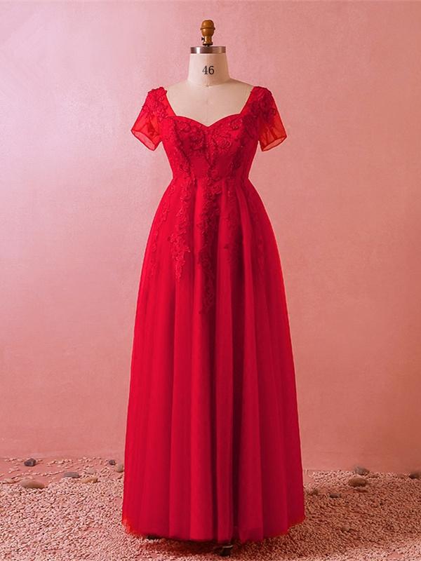 Abendkleid Ballkleider Grosse Grossen Queen Anne Ausschnitt Lang Rot Tull Spitze Mit Armel