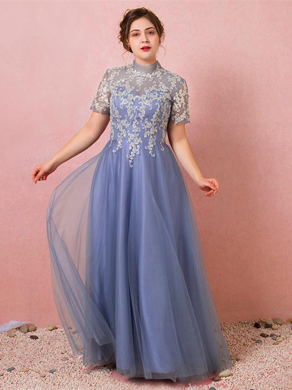 neueste 01942 2fedd Abendkleid Ballkleider Große Größen Stehkragen Rückenausschnitt Lang Grau  Blau Spitze Tüll Ärmel