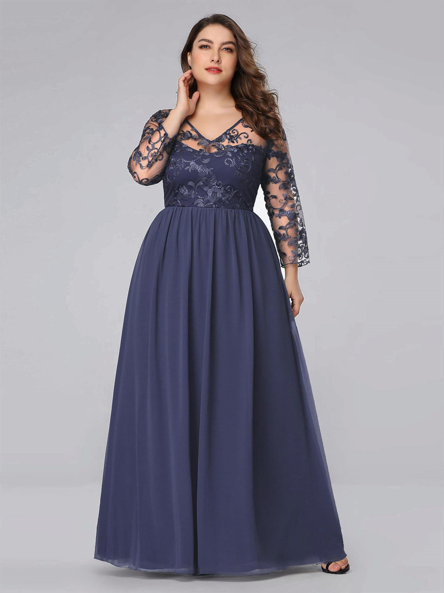Abendkleid Ballkleider Große Größen V Ausschnitt Langarm Grau Blau Chiffon  Spitze Mit Ärmel