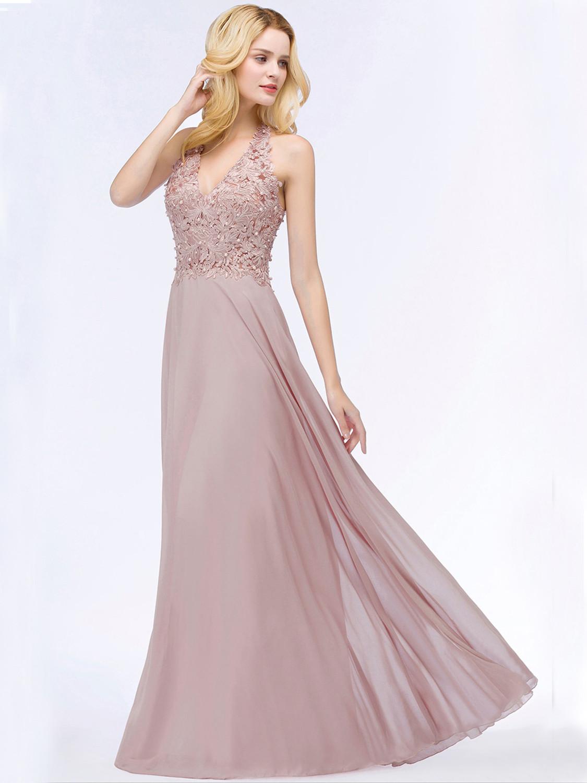Abendkleid Brautjungfernkleider Lang Altrosa Chiffon Fließend Spitze Perlen