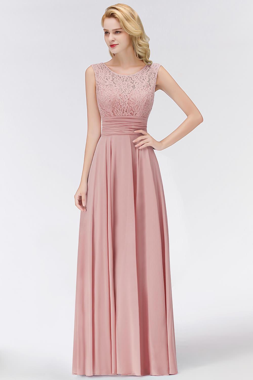 Abendkleid Brautjungfernkleider Lang Altrosa Chiffon Spitze  Rückenausschnitt Mit Falten