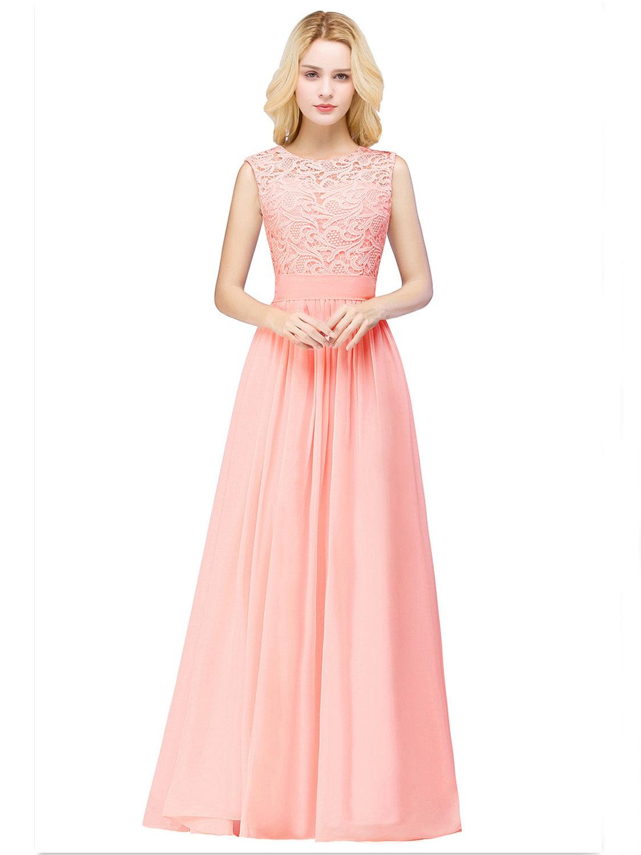 Abendkleid Brautjungfernkleider Lang Koralle Chiffon Spitze Mit Gürtel