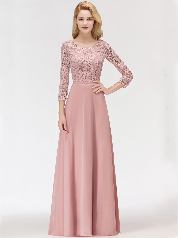Abendkleid Brautjungfernkleider Langarm Altrosa Chiffon Spitze Ärmel U  Ausschnitt