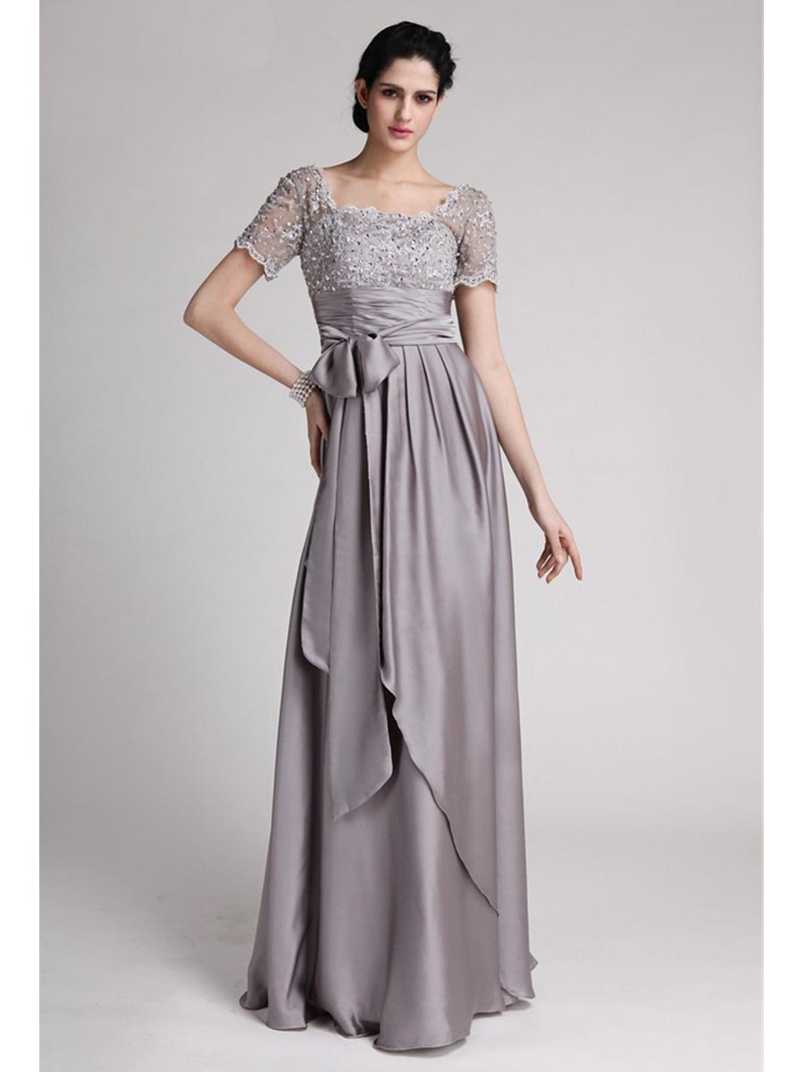 Abendkleid Brautmutterkleider Carré Ausschnitt Lang Grau Chiffon Spitze  Ärmel
