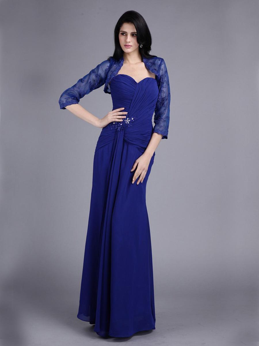 abendkleid brautmutterkleider lang blau chiffon mit spitze jacke bolero