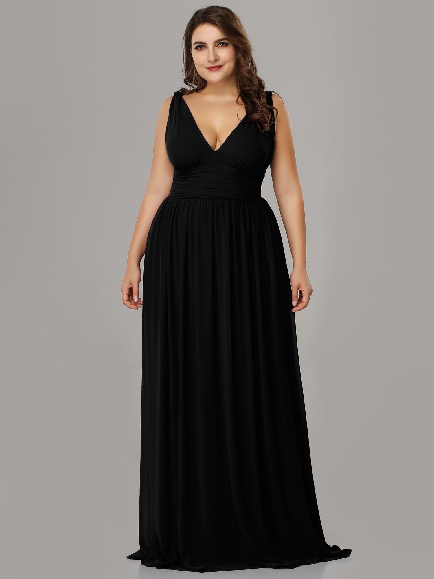 Abendkleid Curvy Ballkleider Große Größen V Ausschnitt Lang Weinrot Chiffon  Falten