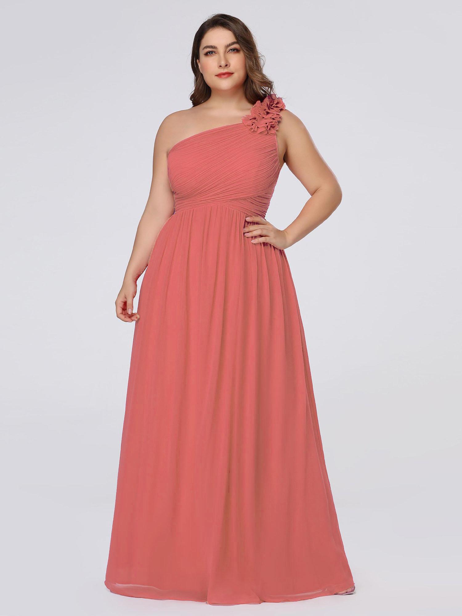 Abendkleid Für Mollige Brautjungfernkleider Große Größen One Shoulder Lang  Pink Chiffon Mit Blumen