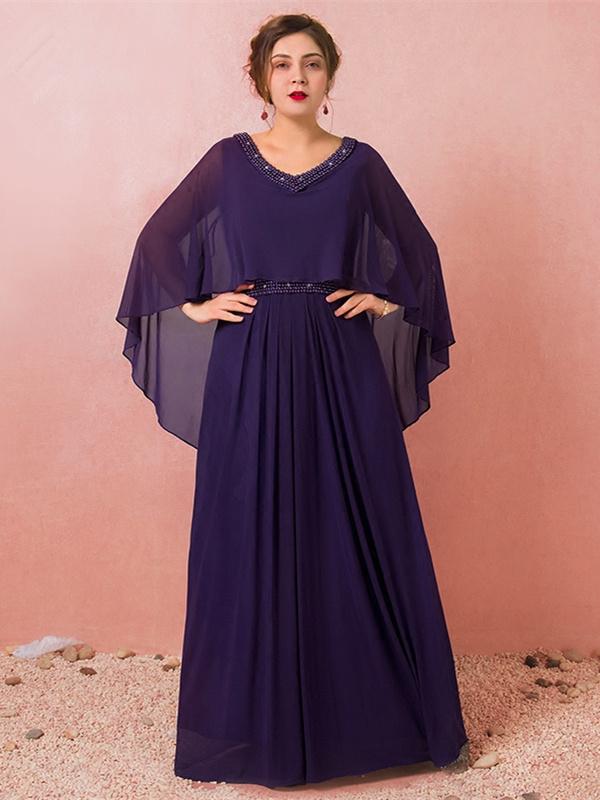 spätester Verkauf Gedanken an Kauf echt Abendkleid Große Größen Ballkleider Für Mollige V Ausschnitt Lang Lila  Chiffon Perlen Mit Schal