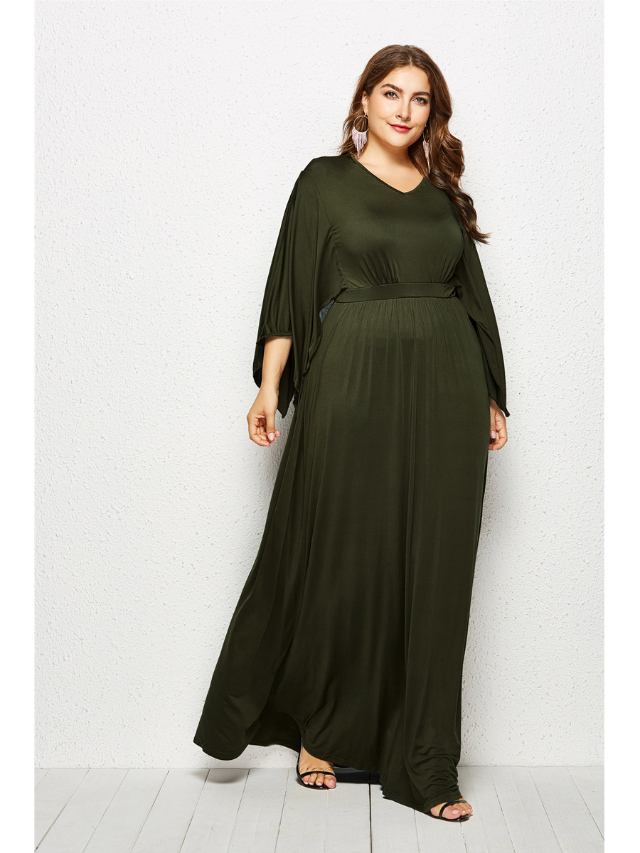 Abendkleid Lang Große Größen Kleid übergröße Olivgrün Jersey Mit Ärmel