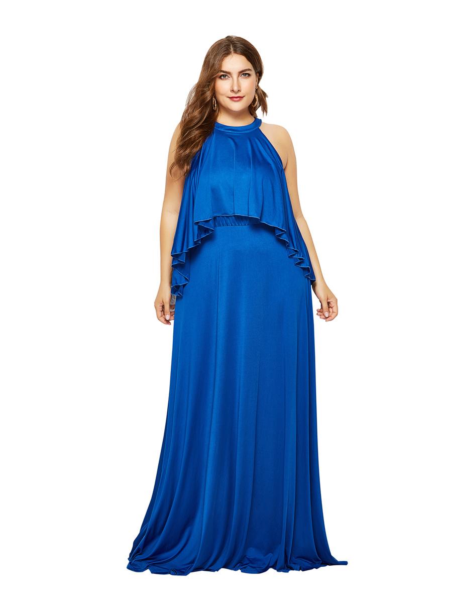 abendkleid lang große größen maxikleid übergröße blau jersey mit rüschen