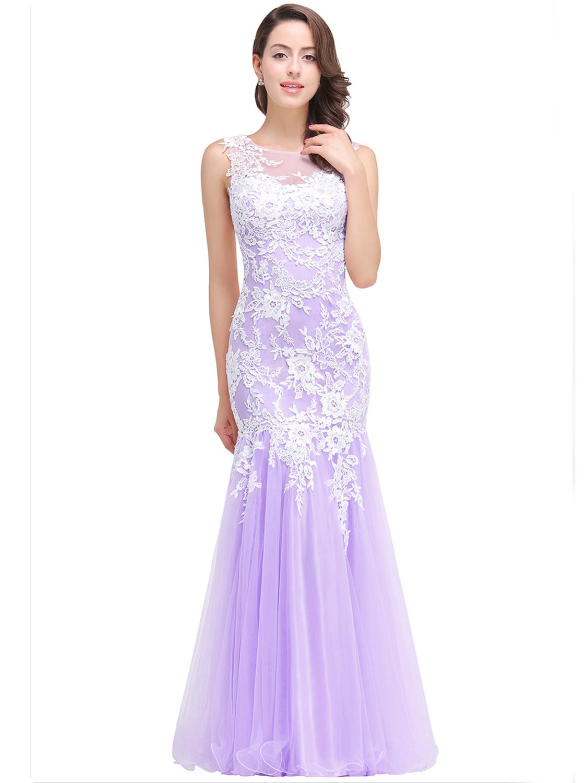 Abendkleid Meerjungfrau Ballkleid Lang Rosa Tüll Spitze Rücken Transparent