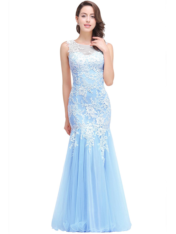 Abendkleid Meerjungfrau Ballkleid Lang Hellblau Tüll Spitze Rücken  Transparent