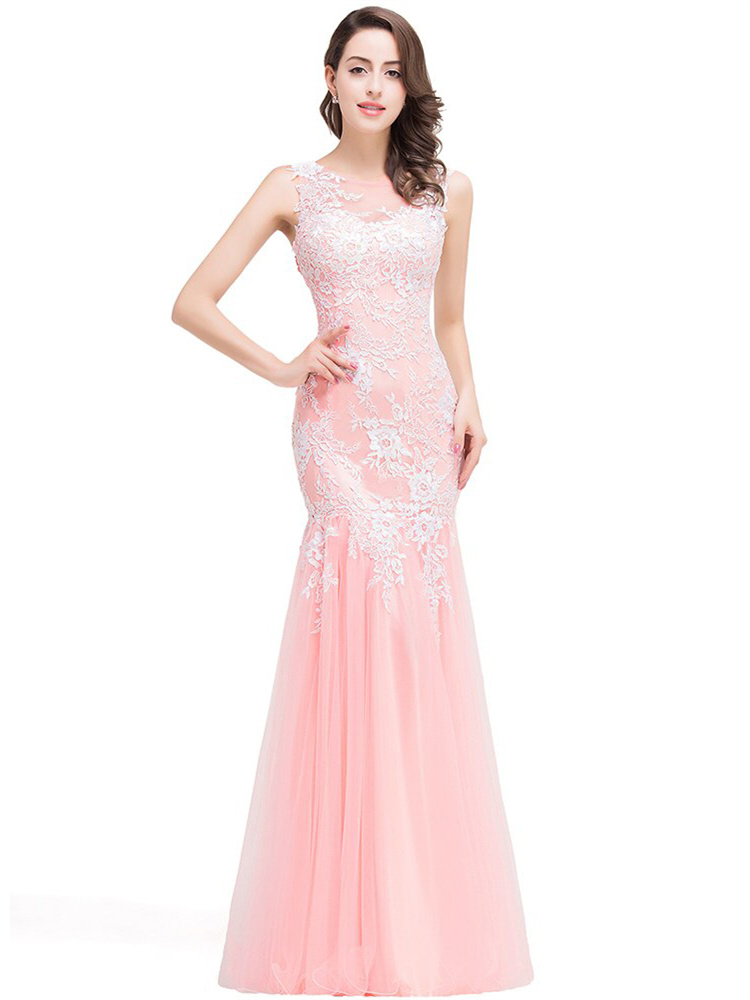 Abendkleid Meerjungfrau Ballkleid Lang Rosa Tull Spitze Rucken Transparent