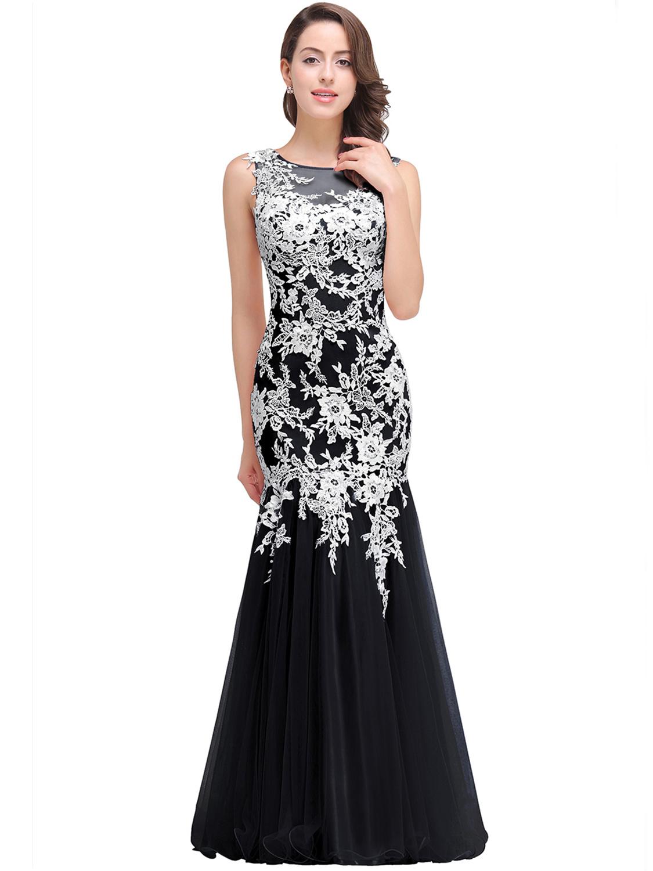 Abendkleid Meerjungfrau Ballkleid Lang Schwarz Weiß Tüll Spitze Rücken  Transparent