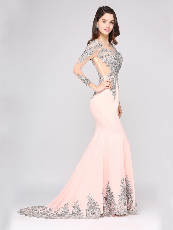 abendkleid meerjungfrau ballkleider langarm rosa satin spitze mit schleppe