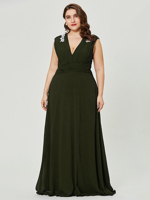 am besten verkaufen bester Preis neue Liste Abendkleider Lang Große Größen Brautjungfer Kleider Für Mollige V  Ausschnitt Dunkelgrün Chiffon