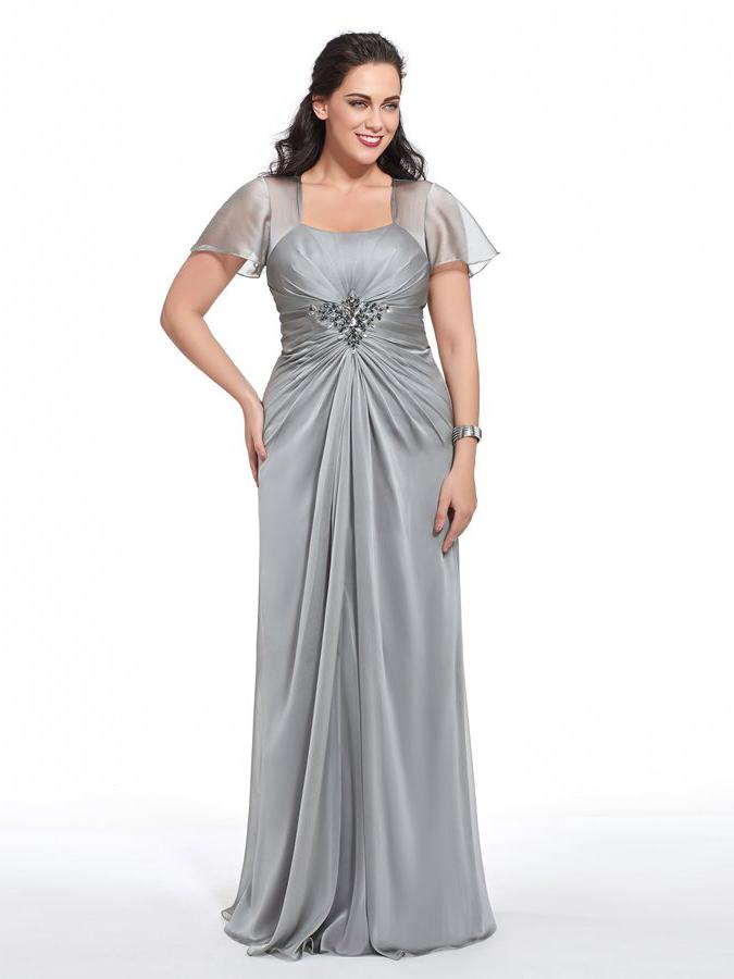 Abendkleider Lang Große Größen Brautmutterkleider Für Mollige Silber Chiffon Mit Ärmel