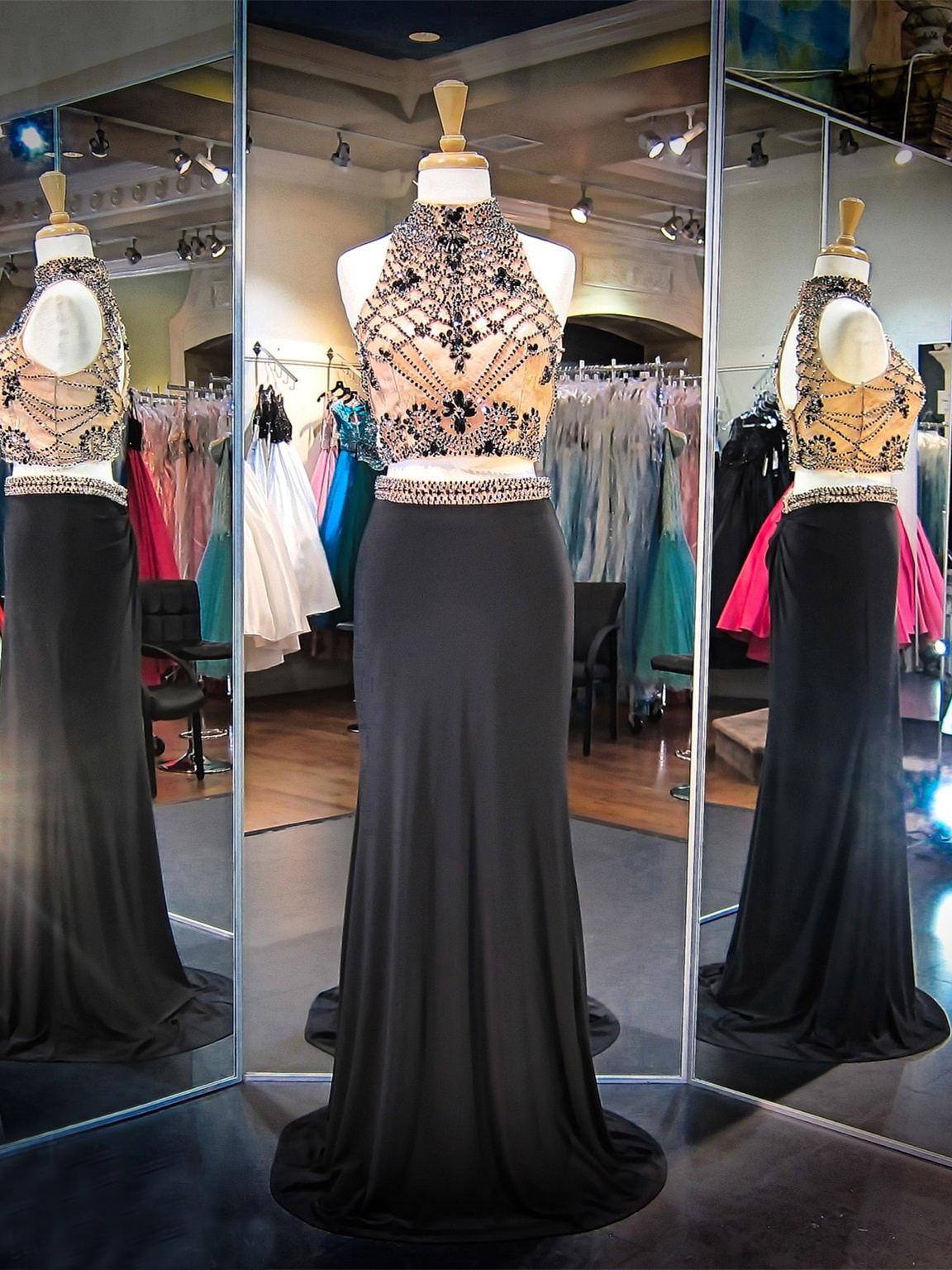 Abiballkleid Abendkleid Zweiteilig Stehkragen Rückenausschnitt Lang Schwarz  Jersey Mit Strass
