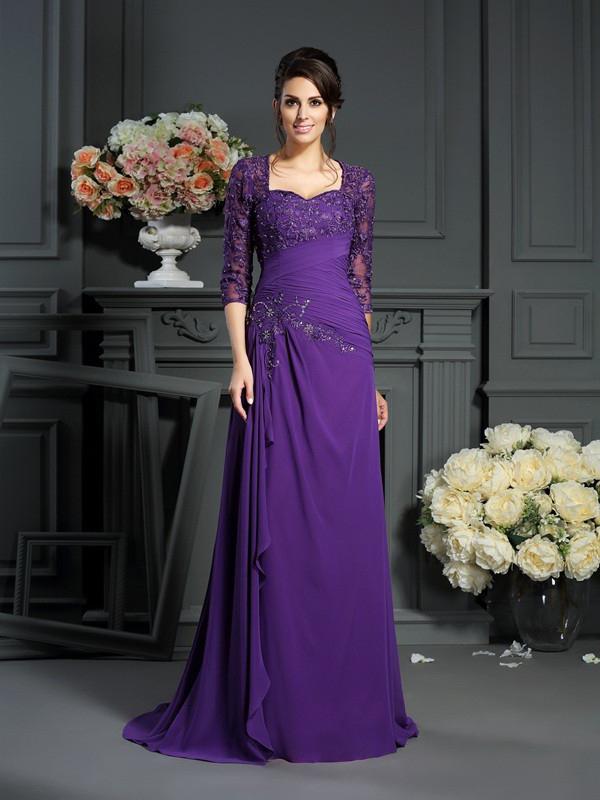 Asymmetrisches Abendkleid Brautmutterkleider Queen Anne Ausschnitt Lang Lila Chiffon Spitze Armel