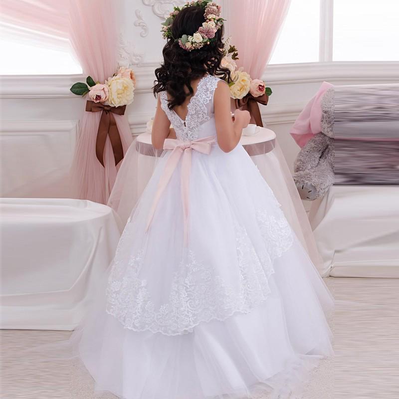 Hochzeit Kleid Festliche Kindermode Ball Sqtrdh Blumenmädchen Tüll Weiss E9WDHI2