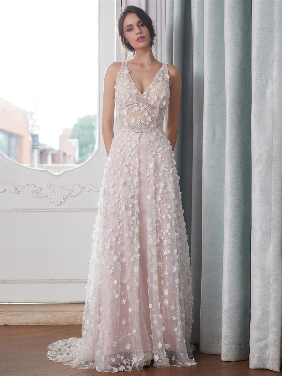 Boho Sommer V Ausschnitt Rückenfreies Brautkleid Transparent Farbig Rosa  Tüll Perlen Blumen