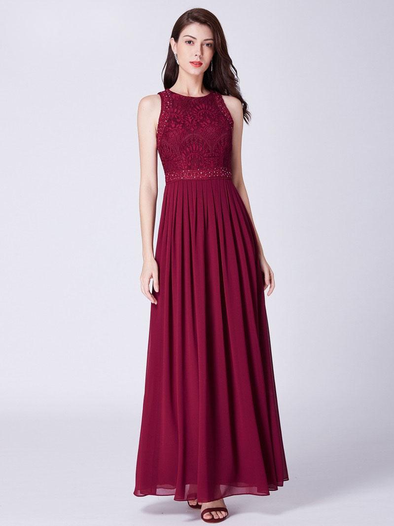 Brautjungfernkleider Abendkleid Hochgeschlossen Lang Weinrot Chiffon Spitze  Perlen