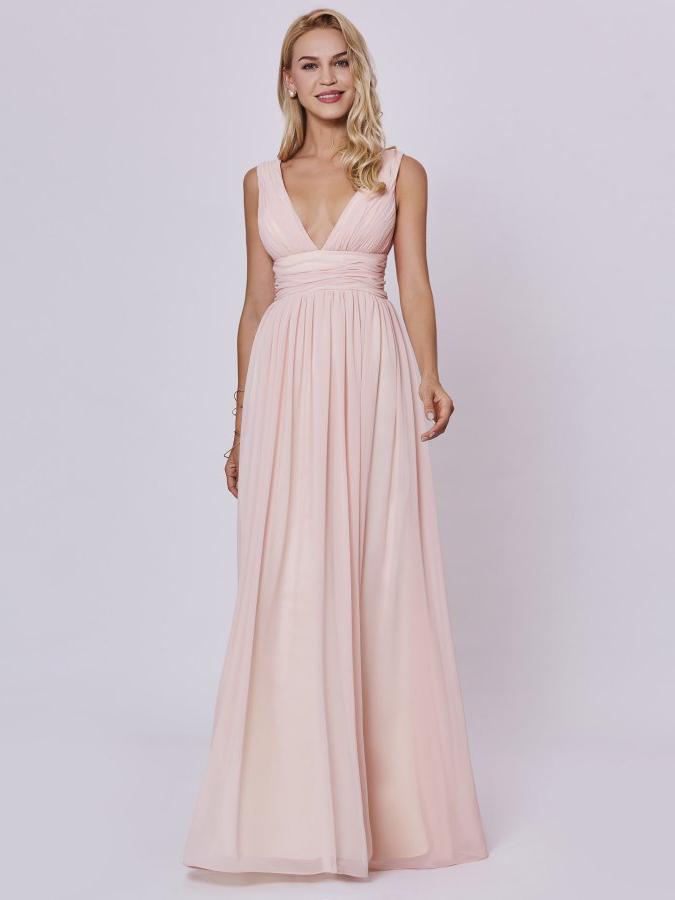 Brautjungfernkleider Hochzeit Abendkleid Tiefer V Ausschnitt Lang Pastell Rosa Chiffon