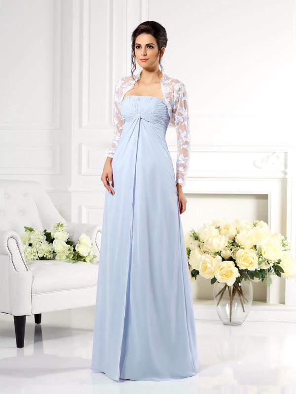 riesiges Inventar am modischsten bis zu 80% sparen Brautmutterkleider Abendkleid Empire Stil Lang Hellblau Chiffon Spitze  Jacke Bolero