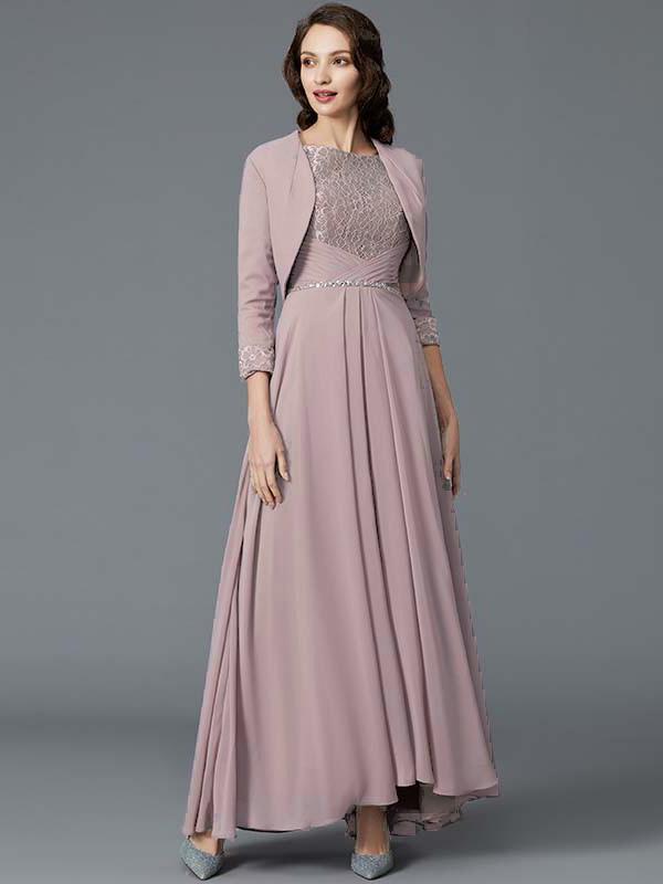 Brautmutterkleider Abendkleid Lang Altrosa Chiffon Spitze Armel Mit Bolero Jacke