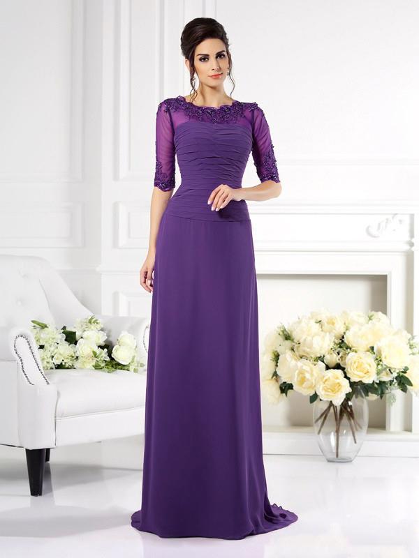 Brautmutterkleider Abendkleid Lang Lila Chiffon Spitze Armel Hochgeschlossen