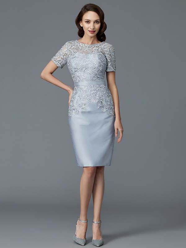 Brautmutterkleider Etuikleid Abendkleid Kurz Silber Satin Spitze Armel Mit Gurtel