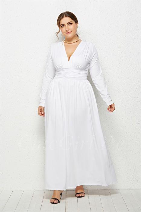 hochwertiges Design 7d069 06159 V Ausschnitt Kleid Große Größen Für Mollige Lang Grün Jersey Mit Ärmel
