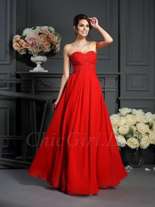 billiger 50% Preis Qualität und Quantität zugesichert A Linie Abendkleid Abiballkleid Empire Stil Lang Rot Chiffon Fließend