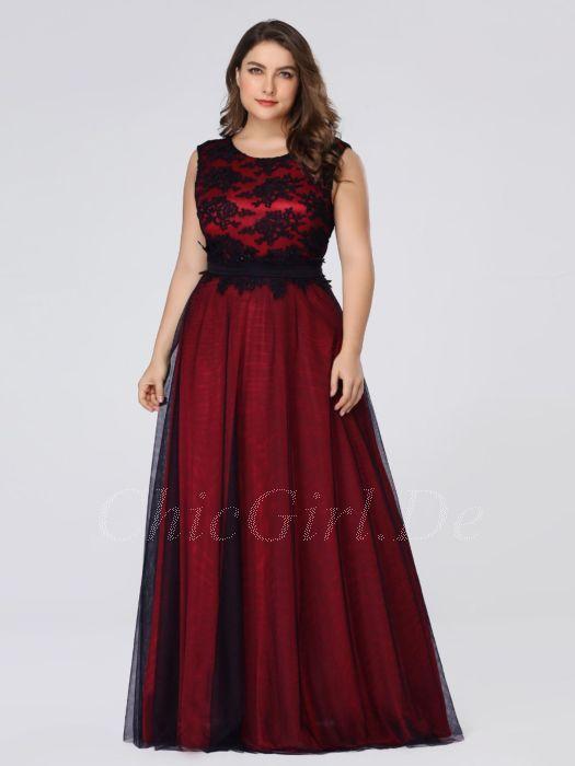 bf4716d11c5e A Linie Abendkleid Ballkleider Große Größen Lang Rot Satin Schwarz Tüll  Spitze