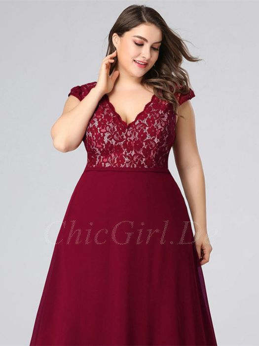 pretty nice 072aa 93da5 A Linie Abendkleid Brautmutterkleider Große Größen V Ausschnitt Lang  Weinrot Chiffon Spitze