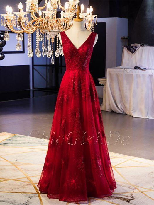 A Linie Abiballkleider Abendkleid V Ausschnitt Rückenausschnitt Lang Rot  Tüll Glitzer