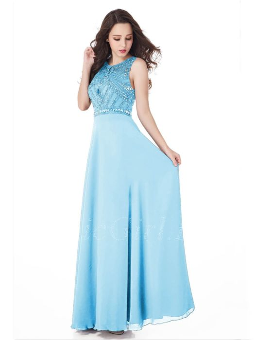 Turnschuhe für billige authentische Qualität gut aus x Abendkleid Ballkleider Lang Hellblau Chiffon Fließend Strass Perlen  Hochgeschlossen