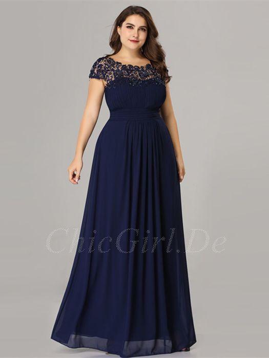 buy popular 10e2d 1b2ff Abendkleid Brautmutterkleider Große Größen Rückenausschnitt Lang Dunkelblau  Chiffon Spitze