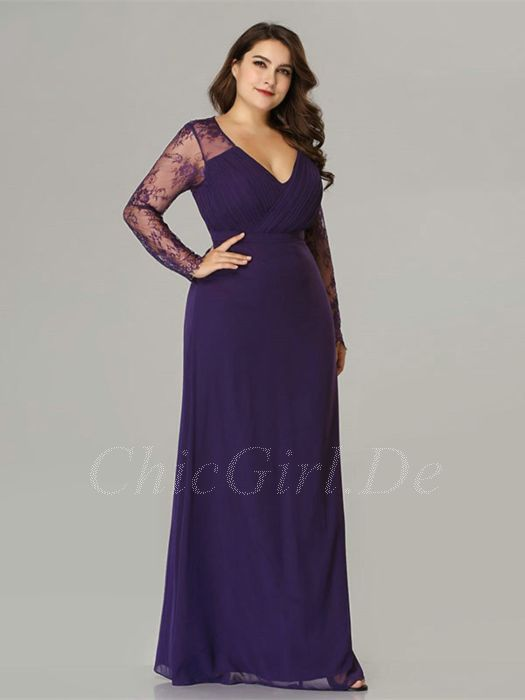 half off 929e8 85da0 Abendkleid Brautmutterkleider Große Größen V Ausschnitt Langarm Lila  Chiffon Spitze Ärmel