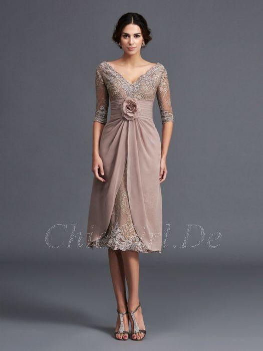 Abendkleid Brautmutterkleider V Ausschnitt Knielang Taupe Spitze Chiffon Mit Ärmel Blume