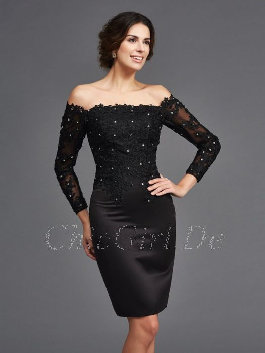 mehr Fotos 9aa8e d5588 Abendkleid Etuikleid Brautmutterkleider Carmen Ausschnitt Kurz Schwarz  Satin Spitze Ärmel